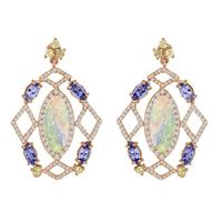 Swoonery-Opal Tanzanite Diamond Earrings