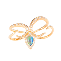 Swoonery-Severin Diamond & Blue Opal Double Finger Ring