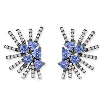 Swoonery-Parrot Mini earrings - Tanzanite Black Rhodium