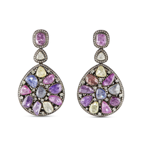 Swoonery-Gold and Silver Diamond and Tourmaline Earrings