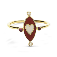 Swoonery-Holly Dyment Go Lightly Red Enamel And White Heart Ring