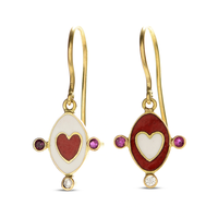 Swoonery-Holly Dyment Go Lightly Enamel Red And White Heart Drop Earrings