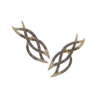 Swoonery-Le Phoenix Intertwined Brown Diamond Earrings