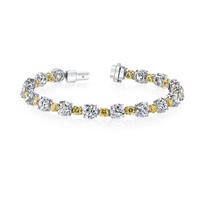 Swoonery-Round White & Yellow Diamonds Eternity Bracelet