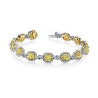 Swoonery-Kotlar Cushion Diamonds & Fancy Yellow Pave Bracelet