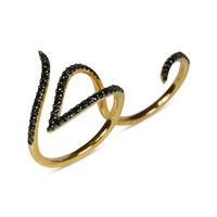 Swoonery-Le Phoenix Double-Finger Black Diamond Ring