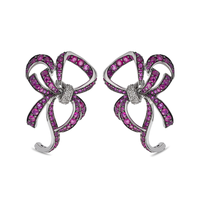 Swoonery-White Gold Lovely Bow Earrings With Rubies