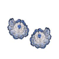 Enchanted Garden Earrings In Diamonds And Blue Sapphires