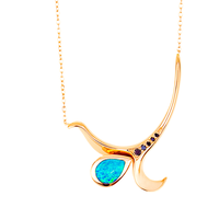 Swoonery-Rose Gold Severin Diamond & Blue Opal Pendant