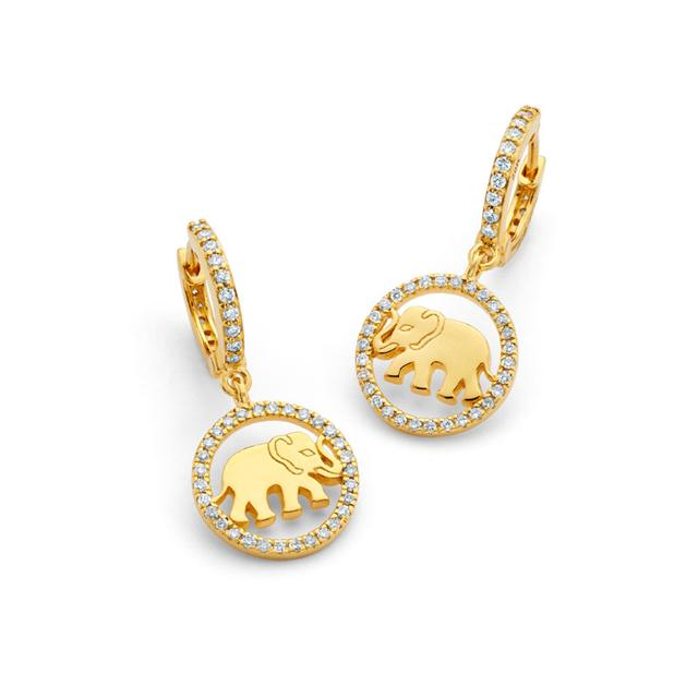 Swoonery-20K Elephant Huggie Earrings