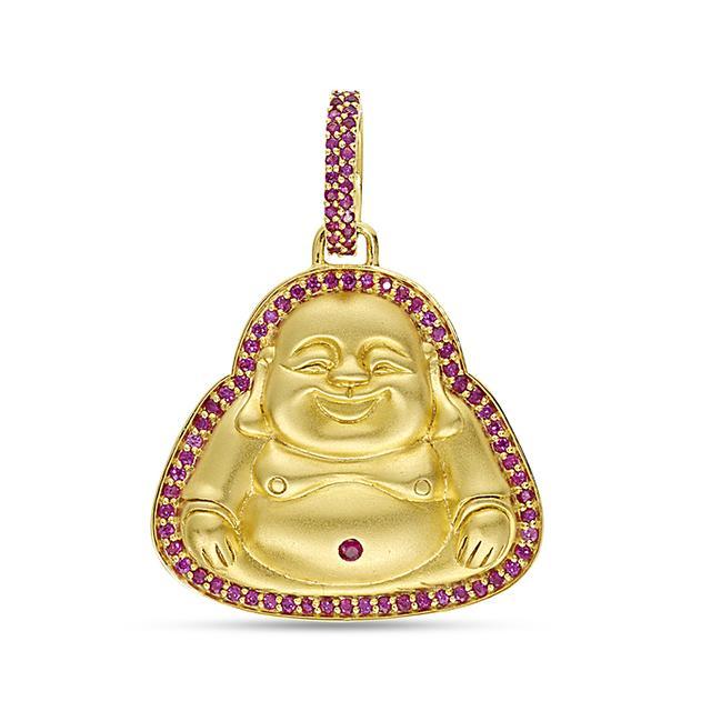 Swoonery-20K Ruby Happy Buddha Pendant
