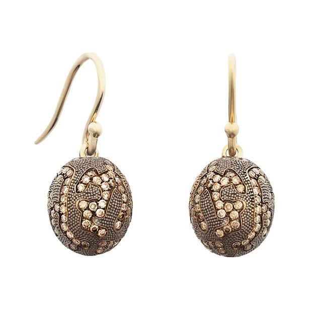 Swoonery-BROWN DIAMOND OVAL DROP EARRINGS