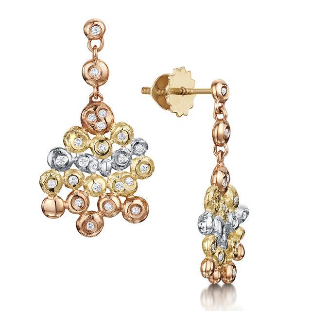 Swoonery-Coalescence Diamond Tri Gold Drop Earring