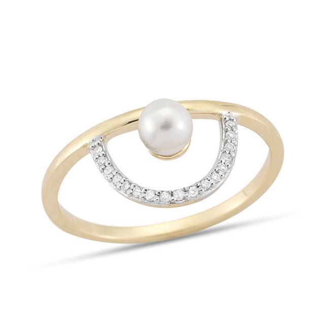 Swoonery-Pearl & Diamond Arc Ring