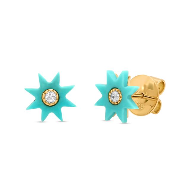 Swoonery-Turquoise Stone Star Studs