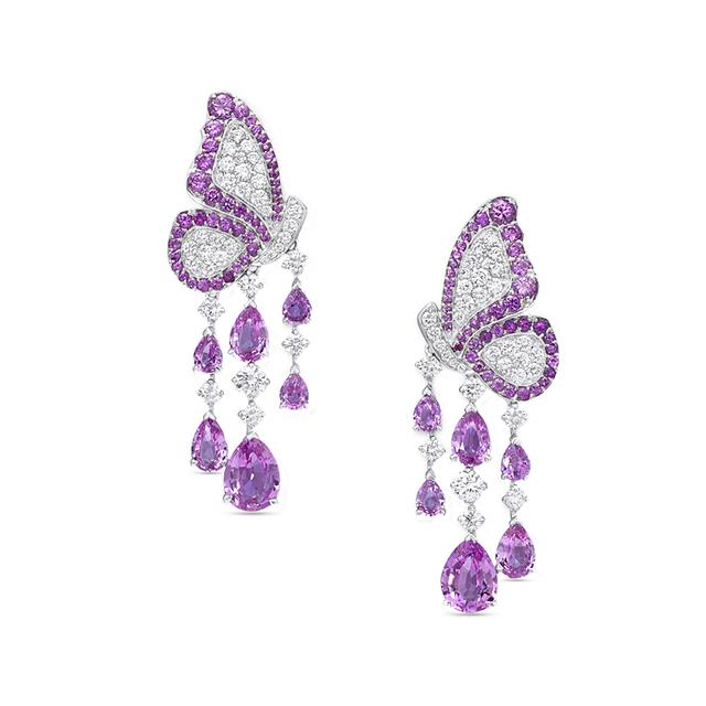 Swoonery-Dancing Butterfly Earrings In Pink Sapphires And Diamonds