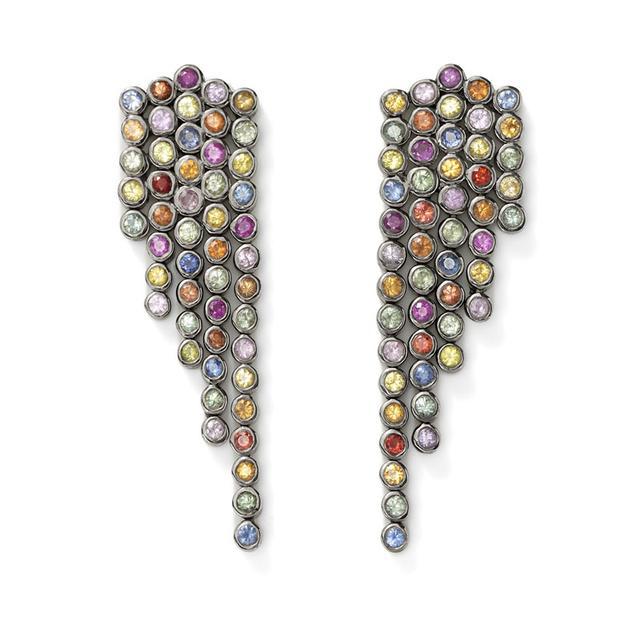 Swoonery-Rainbow Sapphire Fringe Earrings