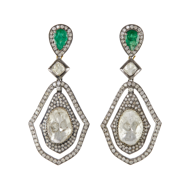 Swoonery-Gold and Silver Diamond and Emerald Earrings