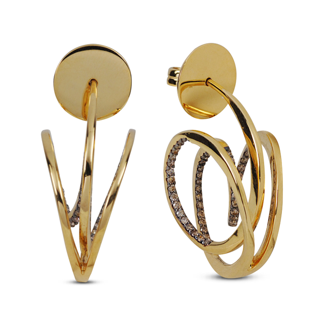 Swoonery-Yellow Gold Wave Hoop I Brown Diamond Earrings
