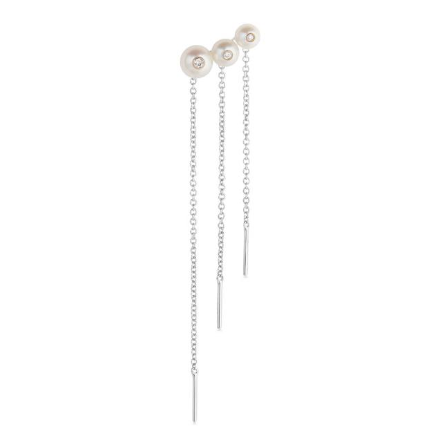 Swoonery-Menage a trois white pearl chain earring