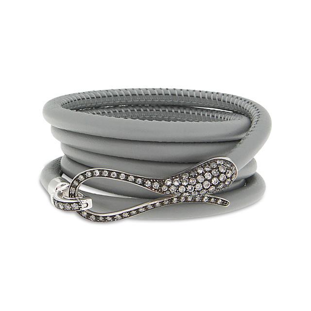 Swoonery-Burnished White Gold Elika Leather Bracelet