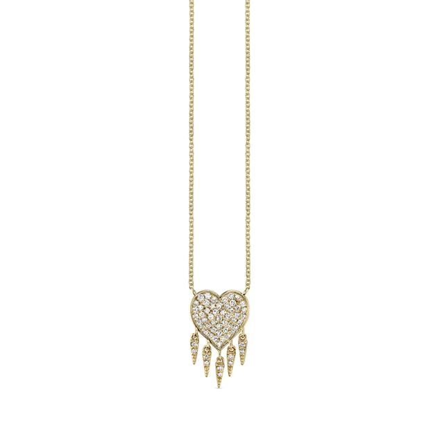 Swoonery-Pave Fringe Heart Necklace