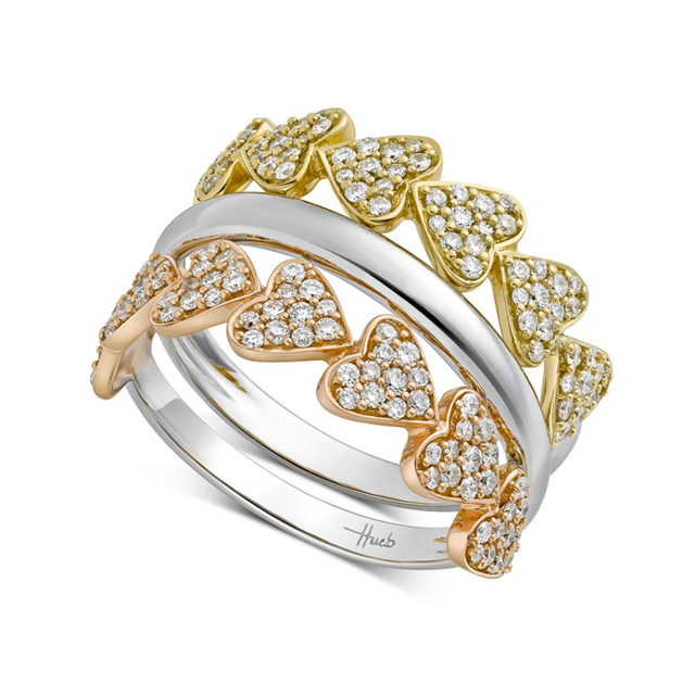 Swoonery-Multi Gold Heart Ring