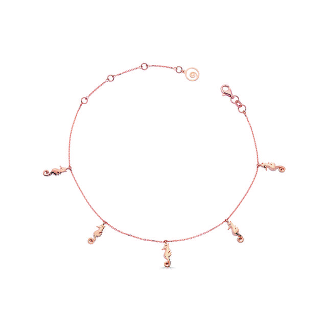 Swoonery-Aqua Light Seahorse Anklet