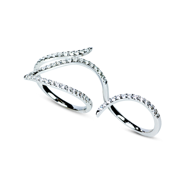 Swoonery-Le Phoenix Double-Finger Diamond Ring