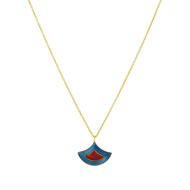Swoonery-Blue And Red Holi Enamel Necklace