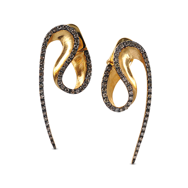 Swoonery-Yellow Gold Wave Brown Diamond Earrings