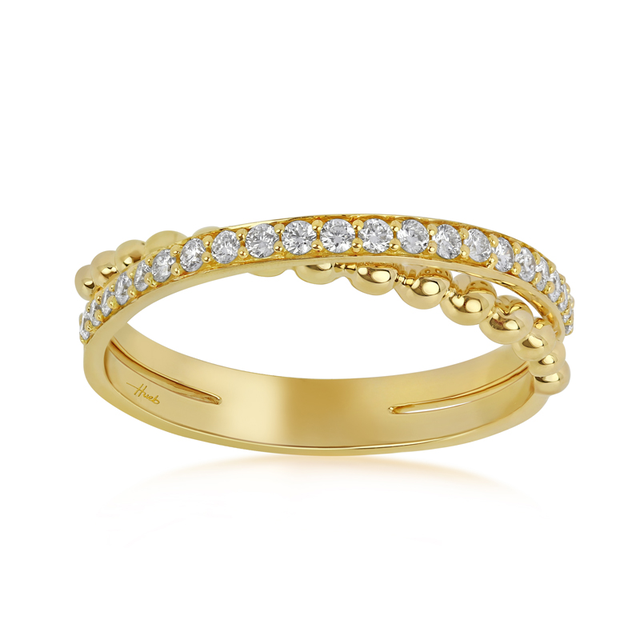 Swoonery-Thin Yellow Gold Bubbles Ring