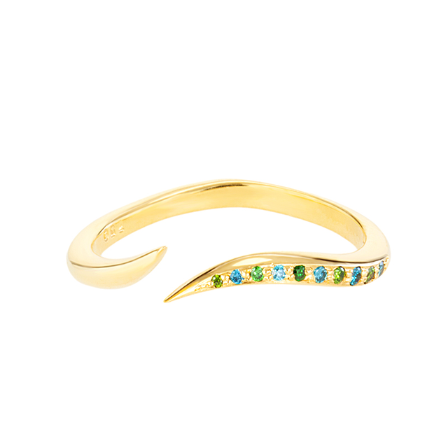Swoonery-Blue & Green Diamond Serpentine Sleeps Stackable Ring