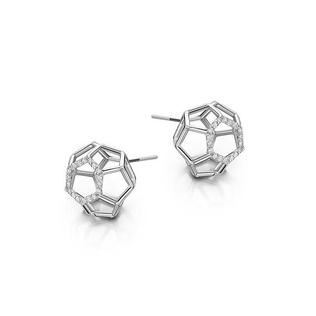 Swoonery-Air Sphere White Gold Earrings