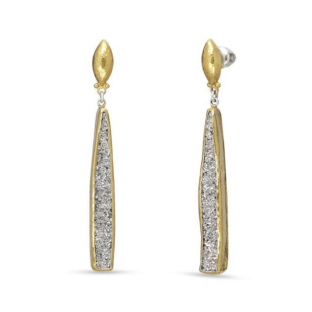 Swoonery-Mystere Linear Drusy Sterling Silver Post Earrings
