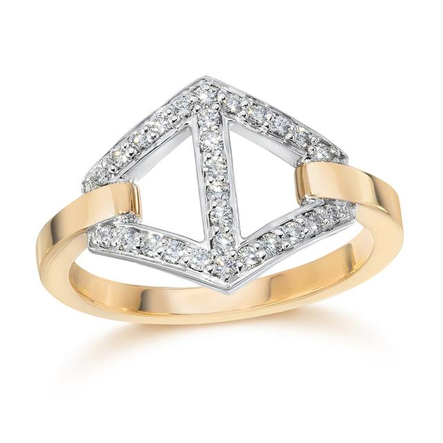 Swoonery-Keynes Medium Diamond Hexagon Ring