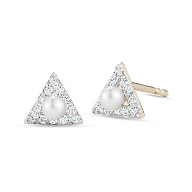 Swoonery-Mini Diamond Triangle Stud with Pearl