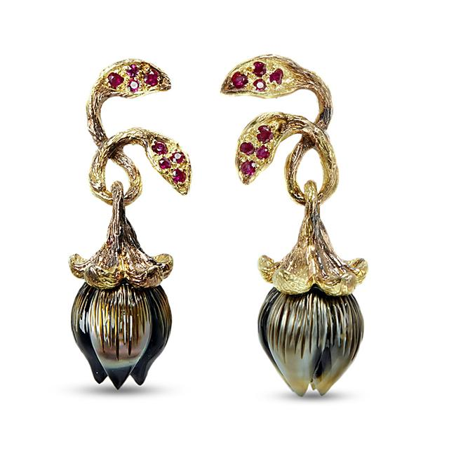 Swoonery-Bellflower  Ruby Earrings