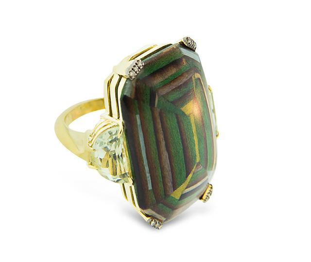 Swoonery-Marquetry Geometric Green Square Ring