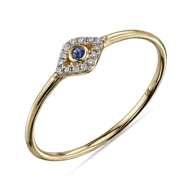 Swoonery-Small Bezel Evil Eye Ring