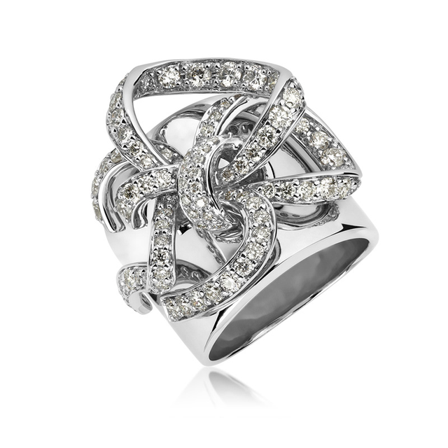 Swoonery-White Gold Lovely Bow Ring
