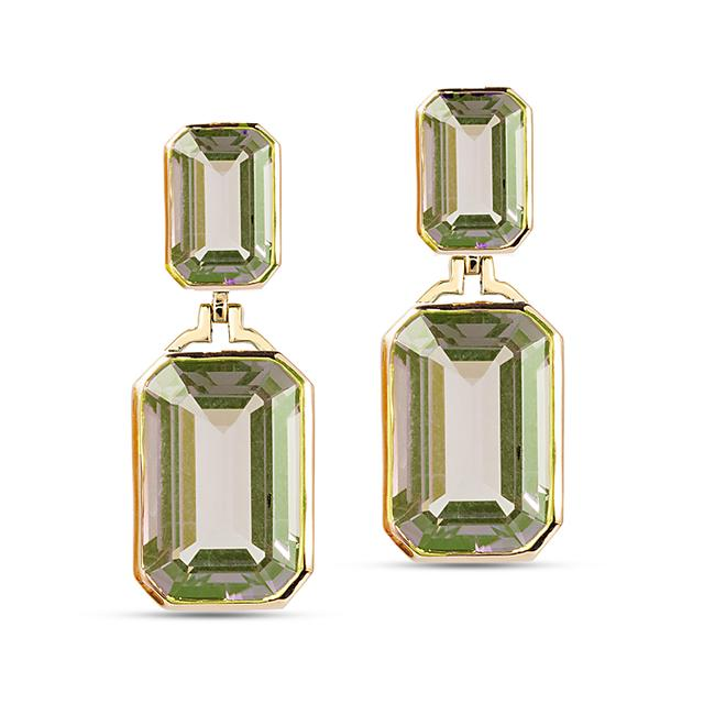 Swoonery-Gossip Collection Emerald Cut Earrings With Prasiolite