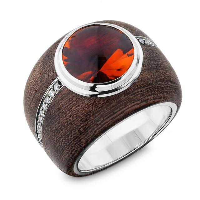 Swoonery-Small Citrine Ebony Wood Ring