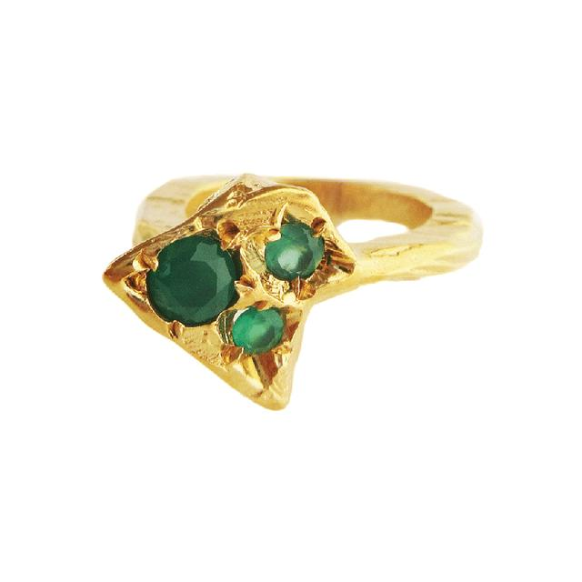 Swoonery-Twisting Emerald Ring