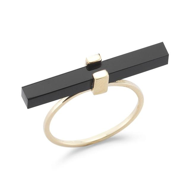 Swoonery-Onyx Cross Bar Ring