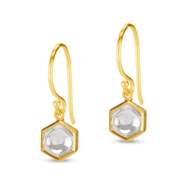 Swoonery-Kundan Vintage Diamond Hexagon Drop Earrings