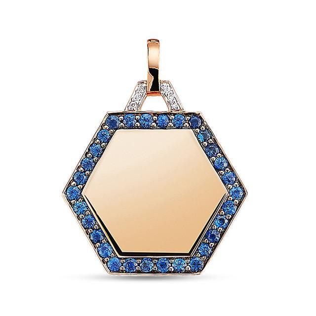 Swoonery-Blue Sapphire Hexagon Pendant on Chain