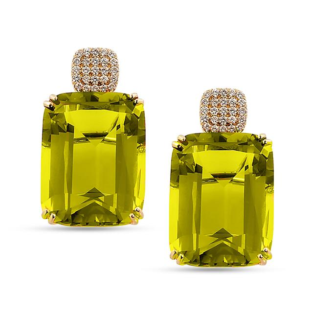 Swoonery-Gossip Collection Cushion Earrings With Quartz