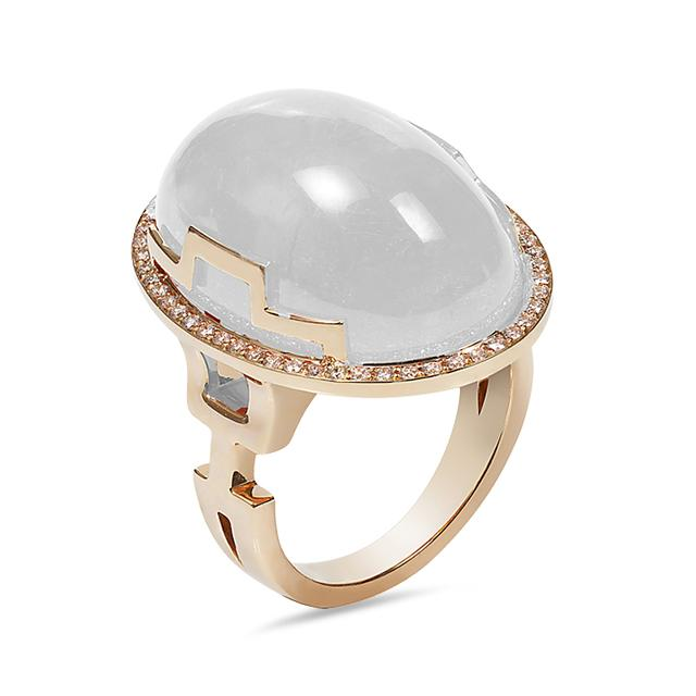 Swoonery-Rock-N-Roll Collection Oval Cab Ring With Quartz