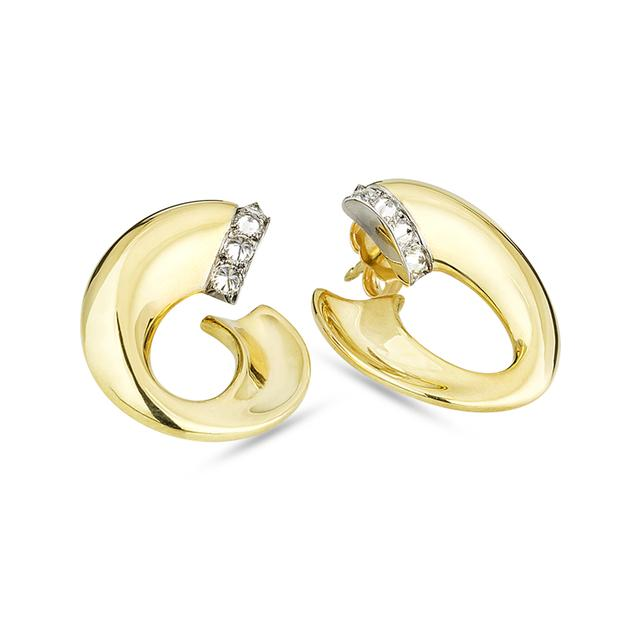 Swoonery-Ligne Mini Twist Inverted Diamond Hoops